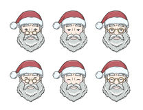 Set of smiling Santa Claus face with round glasses Stock Image