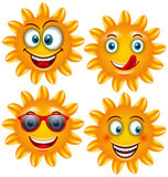 Set Smiling Sun Cartoon Characters Royalty Free Stock Photo