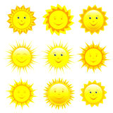Set of smiling sun over white. Set of different smiling yellow, orange and red sun isolated on white background, element of design. Vector illustration Royalty Free Stock Photography