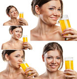 Set of smiling woman drinking orange juice Stock Photo