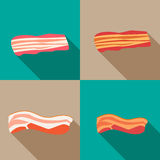 Set of smoked bacon and fresh bacon Royalty Free Stock Images