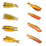 Set of smoked fish Stock Images
