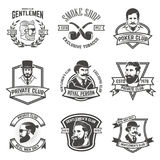 Set of  smokers club, gentlemen club labels. Design elements for. Logo, emblem, sign, brand mark. Vector illustration Stock Photography