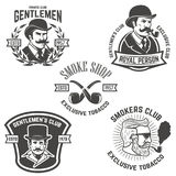 Set of  smokers club, gentlemen club labels. Design elements for. Logo, emblem, sign, brand mark. Vector illustration Royalty Free Stock Images