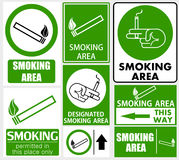 Set of smoking area signs Royalty Free Stock Images