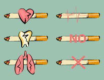 Set of smoking harm signs. Damaged heart, tooth and lungs. Cigarette and pulse icon. Retro cartoon style. Vector illustrations. Set of smoking harm signs Royalty Free Stock Photos