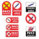 Set of Smoking an No Smoking Cigarette Sign Stock Photo