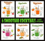 Set Of Smoothie Cocktails With Recipes. Royalty Free Stock Images