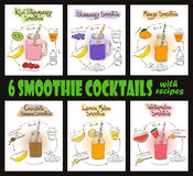 Set Of Smoothie Cocktails With Recipes. Set of 6 hand drawn sketch smoothie cocktails. Including recipes and ingredients for restaurant or cafe. Healthy Stock Photo