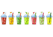 Set of smoothies, juices with different flavors. The concept of vector illustration
