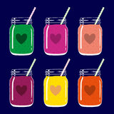 Set of 6 smoothies in mason jars with straws and heart shapes. Romantic smoothie collection. Vector hand drawn illustration. Royalty Free Stock Photos