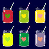 Set of 6 smoothies in mason jars with straws and heart shapes. Romantic smoothie collection. Vector hand drawn illustration. Stock Image