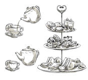 Set of snacks on a tray. Teatime. Vector sketch. Royalty Free Stock Photo