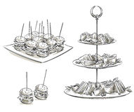 Set of snacks on a tray. Vector sketch. Royalty Free Stock Images