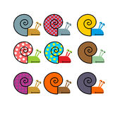Set of snail with colored shell. Vector illustration Stock Photo