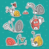 Set of 6 snails doodle handmade. Snail with emotions. Stock Image