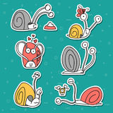 Set of 6 snails doodle handmade. Snail with emotions. Stock Photo