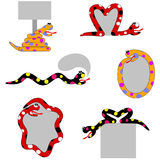 Set of 6 Snake Labels and Signs Royalty Free Stock Images