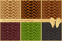 Set of snake and reptile skin vector patterns. Six fashion textures vector illustration