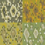 Set 4 snake skin texture. Seamless pattern python. Vector Royalty Free Stock Images