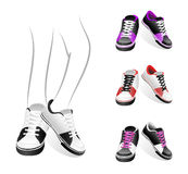 Set of sneakers. Set isolated stylish of sneakers Stock Photography