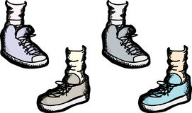 Various Athletic Shoes Stock Photo