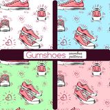 Set of sneakers. Seamless patterns. stock images