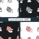 Set of sneakers. Seamless patterns. stock photography
