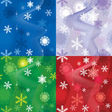 Set of 4 snow backgrounds Royalty Free Stock Photos