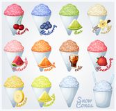 Set of snow cones (shaved ice). stock illustration