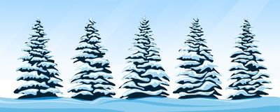 Set of snow-covered firs Royalty Free Stock Photography
