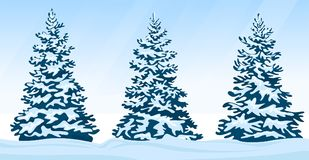 Set of snow-covered firs Royalty Free Stock Photos
