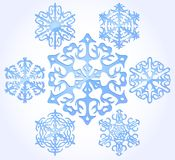 Set Of Snow Flakes Over White. Vector Royalty Free Stock Image