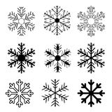 Set of  snow flakes on white background,  Royalty Free Stock Images