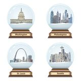 Vector set of snow globes with abstract city skylines. Set of snow globes with abstract city skylines Stock Image