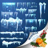 Set of snow icicles isolated on transparent background. stock illustration