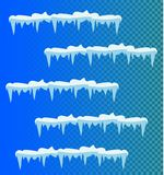 Set of snow icicles, snow cap . vector illustration