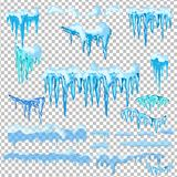 Set of snow icicles  on transparent background. Royalty Free Stock Photo