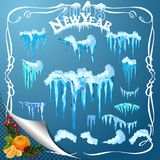 Set of snow icicles  on transparent background. Stock Photo