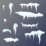 Set of snow icicles on transparent background. Vector illustration stock illustration