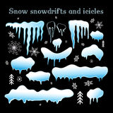 Set Snow snowdrifts and icicles Royalty Free Stock Image