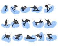 Set of snowboard athlete grunge silhouettes Royalty Free Stock Photo