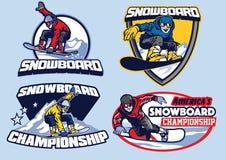 Set of snowboard badge design. Vector set of snowboard badge design Royalty Free Stock Image