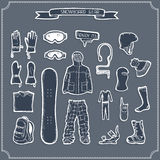 Set of snowboard clothing and kit silhouettes. Royalty Free Stock Photography