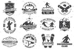 Set of Snowboard Club badges. Set of Snowboard Club insignia or badge. Vector. Concept for shirt , print, stamp or tee. Vintage typography design with Royalty Free Stock Photo
