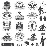 Set of Snowboard Club badges. Set of Snowboard Club insignia or badge with design elements. Vector. Concept for shirt , print, stamp or tee. Vintage typography Stock Images