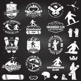 Set of Snowboard Club badges. Set of Snowboard Club insignia or badge with design elements. Vector. Concept for shirt , print. Vintage typography design with Royalty Free Stock Photos