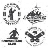 Set of Snowboard Club insignia. Life is better on the slopes. Vector. Concept for shirt , print, stamp or tee. Vintage typography design with snowboard and Royalty Free Stock Photography
