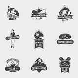 Set of snowboard club logos, labels or badges templates. Stock Images