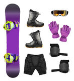 Set of snowboard equipment. And protection accessories isolated on white background royalty free stock image